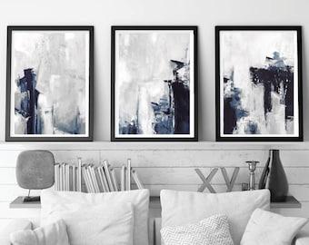grey abstract wall art set of 3 prints modern abstract art blue and grey art brushstroke art minimalist art set triptych wall art
