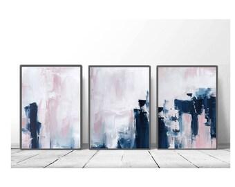 Captivating Pink U0026 Navy Blue Triptych Wall Art, Set Of 3 Prints, Digital Download,  Modern Poster, Abstract Wall Art, Art Minimalist, Scandinavian Art