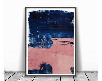 Printable Abstract, Large Art Prints, Brush Prints, Simple Prints, Navy Blue and coral Painting, Minimalist Art, Brush Stroke Print, indigo