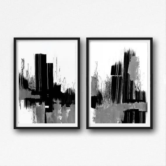 Black And White Abstract Art Modern Art Prints Set Of Two Large Minimalist Paintings Acrylic Abstract Printable Original Art