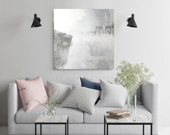 Abstract Wall Art, Original Painting, Modern Painting, Contemporary Painting, white art, acrylic on canvas, white and silver abstract