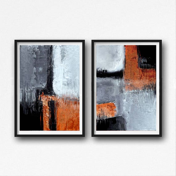 Black And Orange Abstract Art Modern Art Prints Set Of Two Industrial Paintings Abstract Printable Art Gray And Orange Diptych