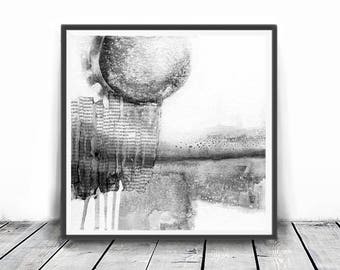 Modern Minimalist Landscape Painting, Printable Art, Wall Art Print, Grey White Abstract Art, Contemporary Art, Abstract Watercolor