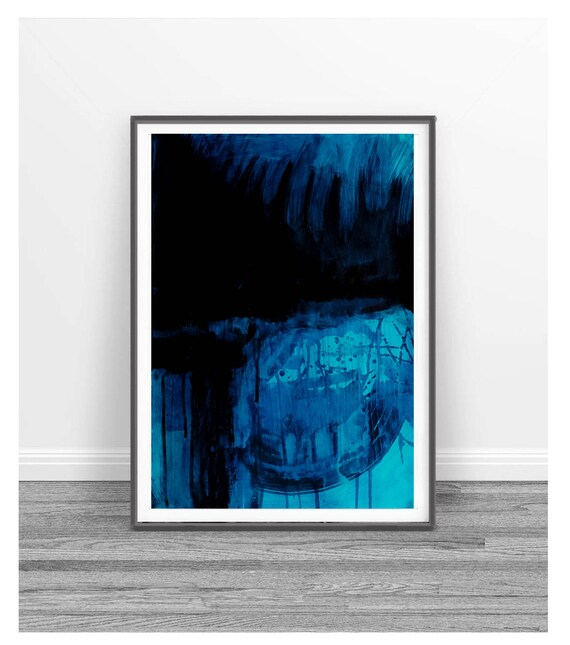 Watercolor Abstract Print Printable Abstract Art Blue Abstract Painting Square Digital Art Printable Blue And Black Wall Art Aqua