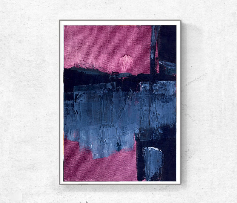 navy blue and fuchsia  pink, Coastal Colors Abstract Art Print Set Minimalist Scandinavian Art Printable Art Set of 2 Prints