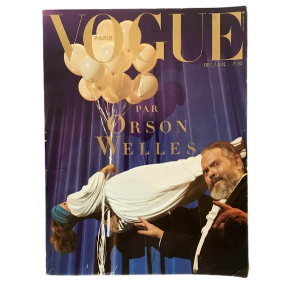 Rare collectible French Vogue, December 1982 / January 1983, guest edited by Orson Welles.