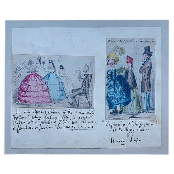 A pair of hand-painted British watercolor fashion caricatures, mid-19th century.