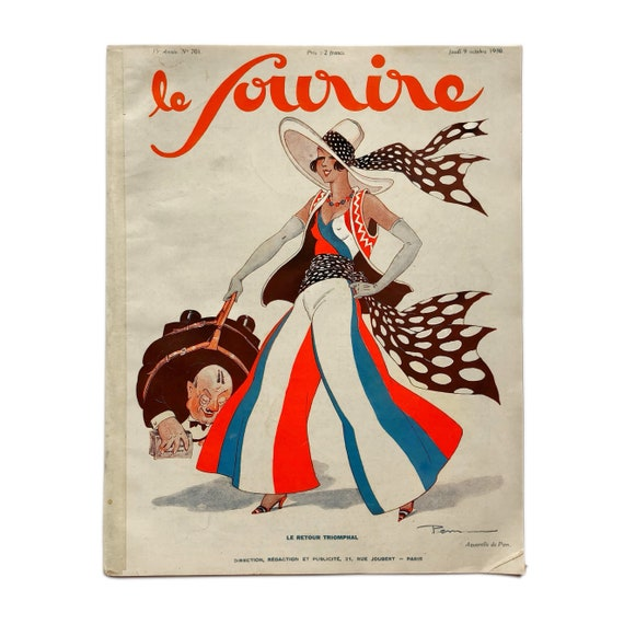 Le Sourire, October 9, 1930. Fun and unusual copy of the Art Deco French pinup magazine, with cartoon predictions of fashions of the future.