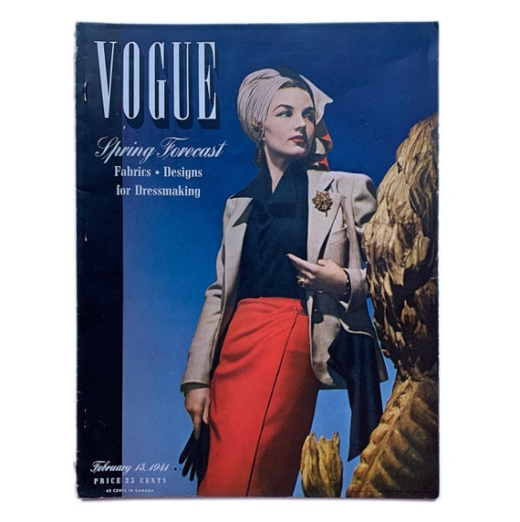 Vogue, February 15, 1941. Featuring cover by John Rawling, Cecil Beaton portraits, military debs, Lady Mendl, and women preparing for war.