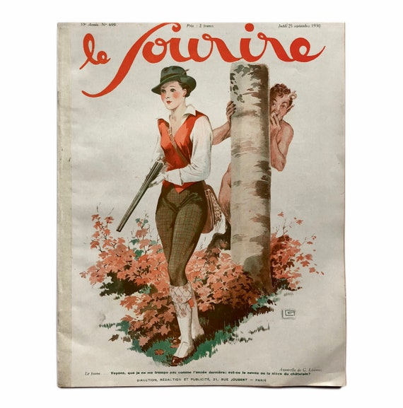 Le Sourire, September 25, 1930. Charming illustration-filled copy of the Art Deco French pinup magazine.