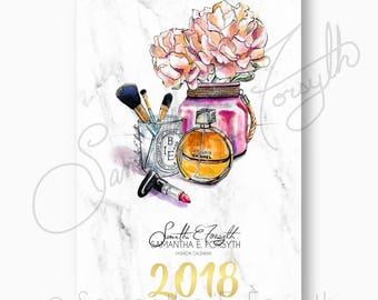 Marble Wall Calendar, Fashion Illustration Calendar, Chanel Calendar, 2018 Wall Calendar, Fashion Calendar, Fashion Wall Calendar