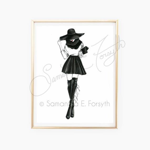 Illustrazione Di Moda Chanel Moda Arte Figurini Poster Etsy