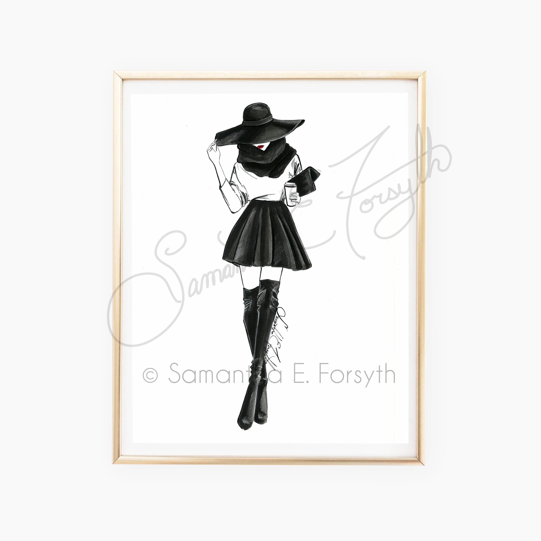 Fashion Illustration Chanel Fashion Art Fashion Sketches Fashion Girl Poster Fashion Sketch Vanity Art Black And White Fashion Sketch