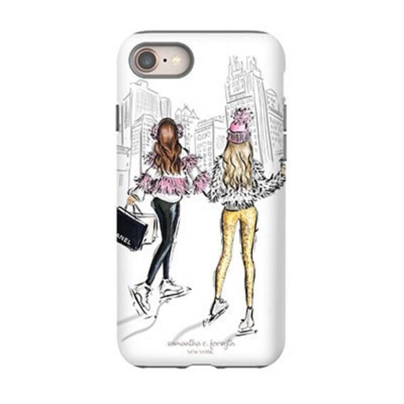 the best attitude 0f8e4 42e92 Best friend phone case, Girly phone case, fashion illustration, iPhone x  case, iPhone 8 case, iPhone 8 plus case, cute phone case, girly