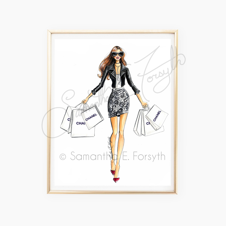 c696c337425d Fashion Illustration Fashion Illustration Print Chanel   Etsy