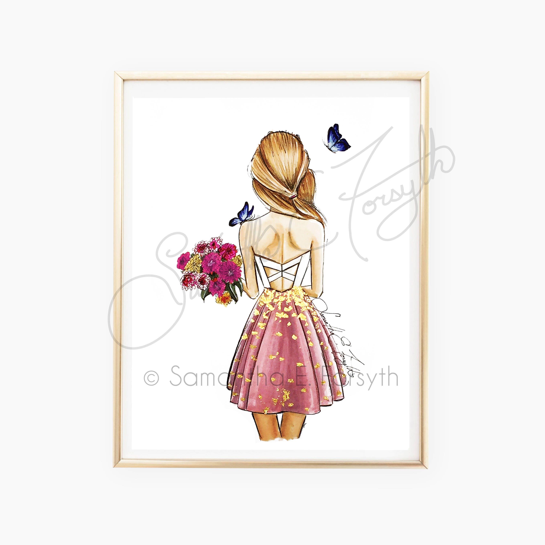 fashion illustration print fashion sketch back of girl etsy