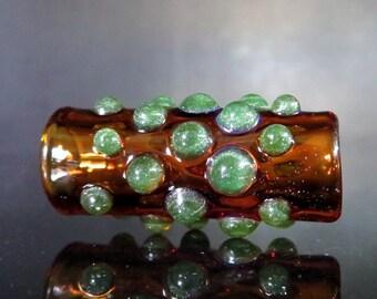 Dots, Amber with green - 8 mm bead hole - Glass Dread Bead, Dreadlocks Accessories, European Style Large Hole Glass Beads,-BIN- #0216