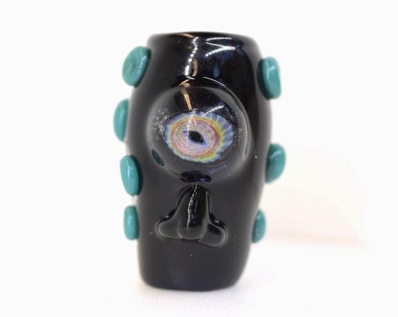 Cyclops Dread Bead - 8 mm bead hole - Hand blown glass dread bead,  Beads for Dreadlocks, Heady Dread Lock Beads, dreadlock beads