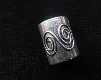 Metal double spiral Dread Beads Large hole Bead