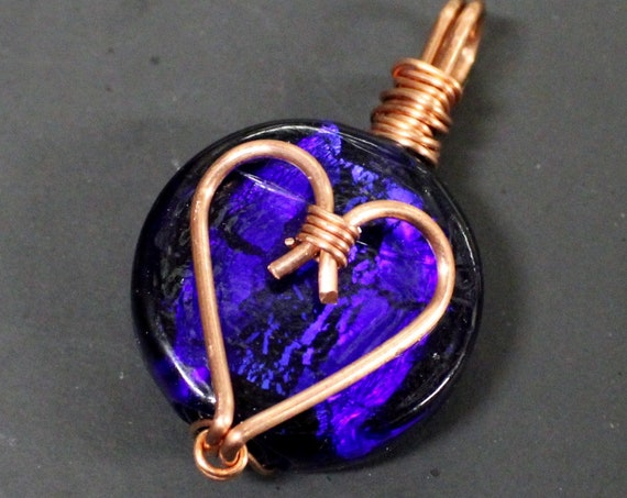 Heart glass coin with copper wire wrap - Available with or without a Necklace - Hemp Jewelry pendants