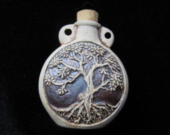 Ceramic Bottle - sacred Tree of life Tiny bottle pendant or necklace, Essential oil vessel,  Medicine bag, Memorial Jewelry for ashes
