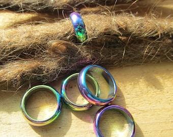 Metal Hematite rainbow Iris dread beads 15mm Bead Hole for Extra Large size dreads Hand Blown Glass Dread Bead