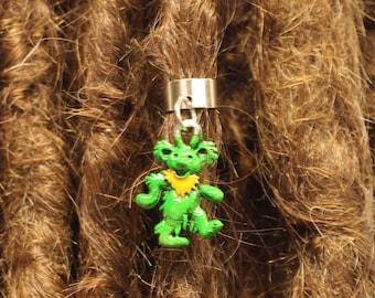Grateful Dread Bear Dreadlock Bead, Ear Cuff - ADJUSTABLE Bead Hole - Rainbow Jerry Bear Loc Accessories, Dread Lock Jewelry, MTO