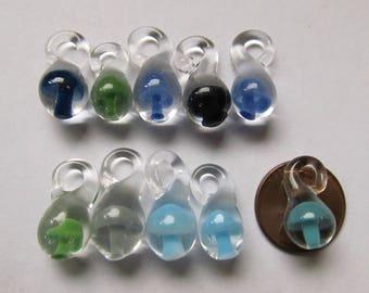 "10 Mushroom Pendants - 10 Small 5/8"" - Hand blown glass mushroom pendants, Choose your colors - Wholesale pack"