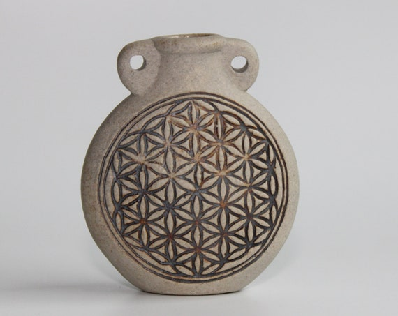 Ceramic Bottle - Sacred Geometry, Flower of life- Available with Necklace Options or Bottle Only - Essential oil vial Necklace