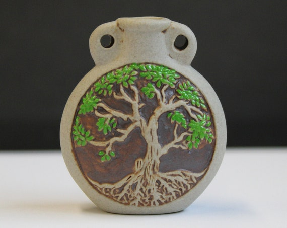 Ceramic Bottle Painted - sacred Tree of life Tiny bottle pendant or necklace, Essential oil vessel, Medicine bag, Memorial Jewelry for ashes