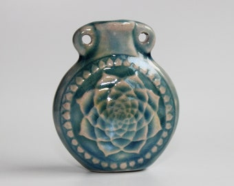Ceramic Raku Bottle - Lotus, Flower of life- Available with Necklace Options or Bottle Only - Essential oil vial Necklace