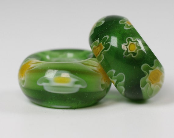 Glass Daisy Dread Beads // 6mm Bead Hole - 2 pack // Rainbow Dread Bead, Rainbow Dreadlock Bead, Dread Jewelry, Dread Accessories, 4D054