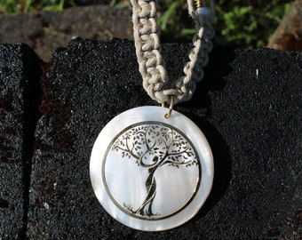 Yoga Tree of life Hemp Choker, Hand tied Hemp Necklace, Tree of Life Hemp Neacklace,  Tree Hemp Choker, Gold Tree Pendant