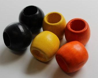 6 pack Wood dread beads, Halloween colors, Orange Black, yellow -9mm bead hole -  wood bead pack#019