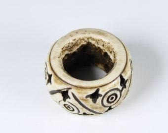 Bone Dread Bead - 12mm bead hole - Short Circles, Large hole Beads for dreadlocks or chunky hemp jewelry beads, Loc Accessories, 4C003 #1013