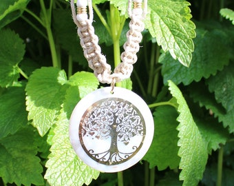 Tree of life Hemp Choker, Hand tied Hemp Necklace, Tree of Life Hemp Necklace,  Tree Hemp Choker, Gold Tree Pendant
