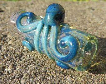 Octopus Bead - Blue - 8 Mm Bead Hole - Hand blown glass dread bead - Large hole beads