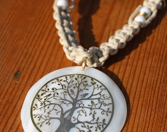 Gold Tree of life Hemp Choker, Hand tied Hemp Necklace, Tree of Life Hemp Neacklace,  Tree Hemp Choker, Gold Tree Pendant