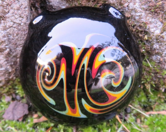 Large Hollow Pendant // Black and Rasta //  Wig Wag Switchback Spiral // Boro Glass Pendant, Lampworked Pendant, Pendy