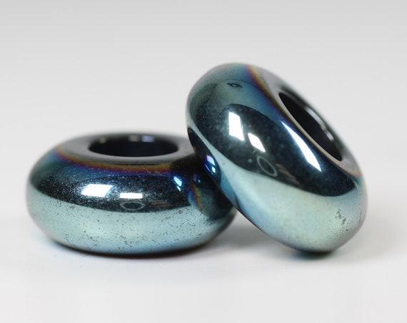 Water Spirit Dreadlock Bead // 6mm Beads Hole - Set of 2 // Beads for Dreadlocks, Dread Beads, Hair Jewelry, Dread Accessories, 4D057