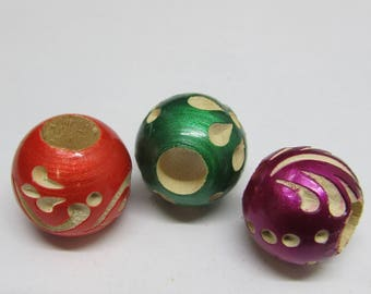 wood Round lacquered and carved dread or beard beads 8mm bead hole for Small size dreads