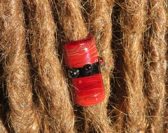Coil Pot - Red and Black  - 8mm bead hole - Hand Blown Glass Dread Bead, Beads for Hemp Jewelry or Dreadlocks -BIN- #0186