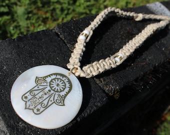 Hamsa Hand Hemp Choker, Hand of Fatma Hand tied Hemp Necklace, Tree of Life Hemp Necklace,  Tree Hemp Choker, Gold Tree Pendant