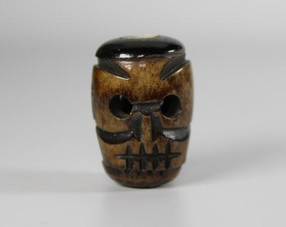 Skull Dread Bead, Large Hole Bead, Dreadlock Jewelry, Hair Beads, Carved Bone Dread Bead, Loc Accessories, Dreadlock Beads, Viking Jewelry