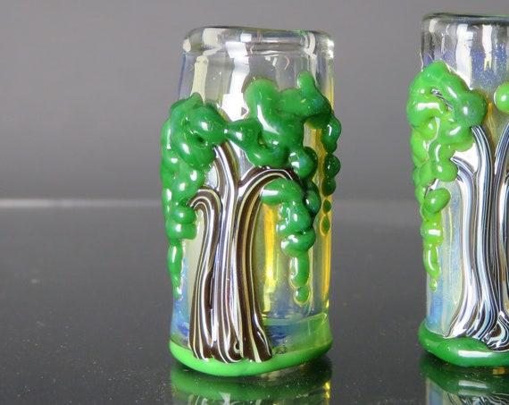 Trees of life - Willow Tree - CUSTOM choose your bead hole size - Hand Blown Glass Dread Beads, Beads for Dreadlocks, dreadlock beads