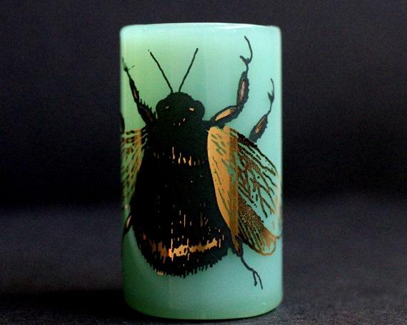 Golden Bumble Bee Dread Bead - Green - 12 mm bead hole - Glass Dread Bead, Dreadlock, Lampworked Bead, Loc bead, Loc Accessories, Dread Bead