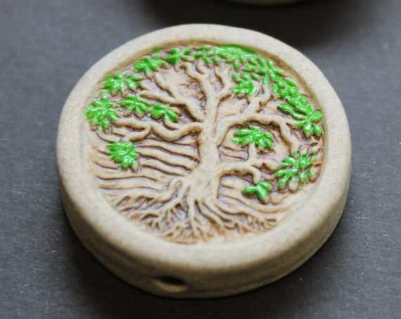Large Tree of life, colored leaves, Ceramic Bead - Hand Painted -  Bead Only, Beads for Hemp Jewelry