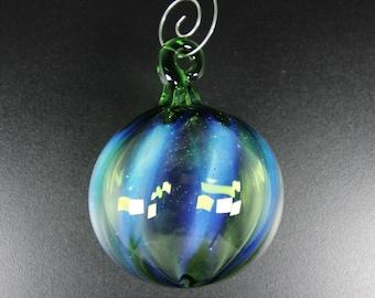 Glass Ball - Transparent Green & Blue Hightlights - Hand Blown Glass Christmas Ornament, Tree Decorations