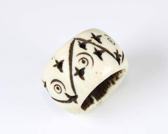Bone Dread Bead - 16mm bead holes - Natural Dread Beads, Loc Accessories, Large Hole Beads, Paracord Beads, Hair Beads  #1006