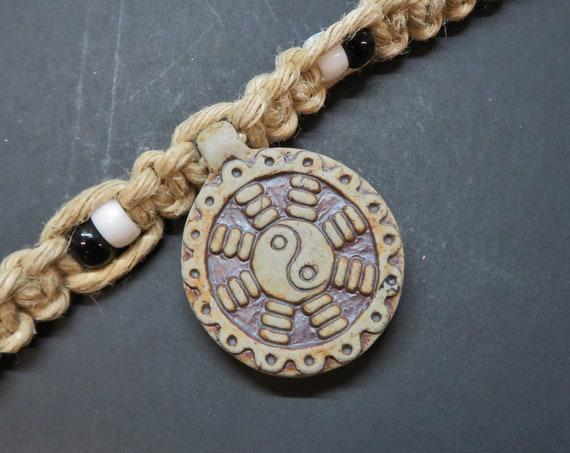 Ceramic Yin Yang Pendant Hemp Necklace - with glass accent beads - Boho, Hemp Jewelry